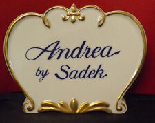 Andrea by Sadek Flawless Countertop Display Sign. Superb Condition. W/Sticker