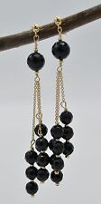#BE104 14K Solid Yellow Gold Faceted Black Onyx Chandelier Earrings