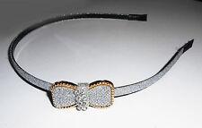 Serre-tête fin noeud papillon et strass couleur argenté à paillettes ST0124C