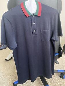 Gucci Men's Blue Polo Shirt Striped Collar Size Medium