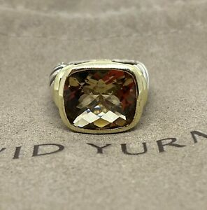 David Yurman 14K Yellow Gold Sterling Silver Citrine Noblesse Ring Band Size 6
