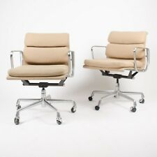 Eames Herman Miller Soft Pad Aluminum Group Desk Chair Tan Hopsack Late 90's 8x