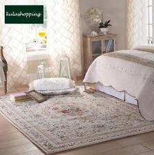 Victorian European Country Traditional Floral Floor Mat Area Rug Carpet Beige U