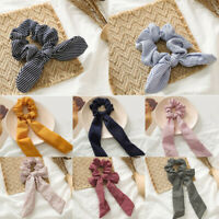 Solid Hair Band Accessories  Striped Bow Elastic Scarf Rope Hair Ties Scrunchie