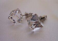 HYPOALLERGENIC Tilted Cube Stud Earrings Swarovski Elelments Crystal Clear Large