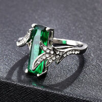 Gorgeous 925 Silver Wedding Ring for Women Emerald Cut Emerald Ring # 6-10 1PC