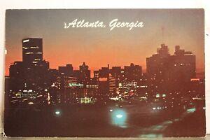 Georgia GA Atlanta Skyline Night Greetings Postcard Old Vintage Card View Postal