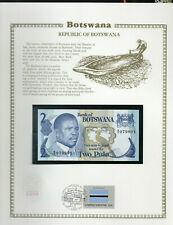 Botswana 2 Pula 1982 P 7b AUNC  w/FDI UN FLAG STAMP Prefix B/9 sign. 4