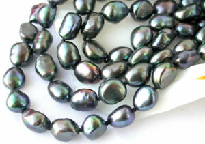 "New Long 100"" 7-8mm baroque black peacock fw pearl NECKLACE AAA"