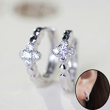 Round Hoop Clip On Ear Stud Lady Silver Plated Zircon Cross Earrings Jewelry