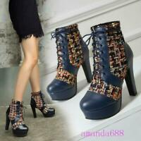 Womens 12cm Ultra Block High Heels Winter Tweed PU Leather Ankle Boots Plus Size