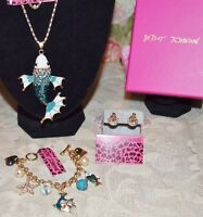 3 PC BETSEY JOHNSON TURQUOIS/CRYSTAL FISH NECKLACE STARFISH EARRINGS CHARM BRAC