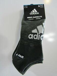 Adidas Mens Superlite 6 Pack No Show Socks 6-12 Nwt