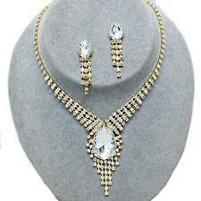 Clear Gold Crystal Rhinestone Teardrop  Wedding Formal Necklace Set