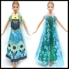 Barbie Doll Clothes - Frozen Elsa & Anna Gowns - Set of 2 Gowns - shoes included