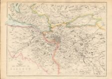 1863  LARGE ANTIQUE MAP - DISPATCH ATLAS- ENVIRONS OF GLASGOW