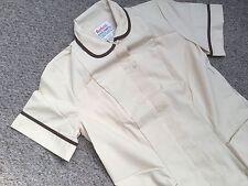 Duchess Kooltron Work Uniform Dress in Beige With brown Trim Short Sleeves 24