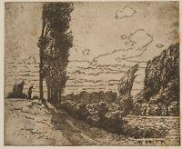 Windige Landschaft mit Wiesen und hohen Bäumen, 1920, Radierung