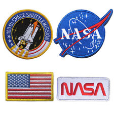 4PCS USA NASA Badge Flag LOGO Embroidered Patch Sew On Hat Cap Jeans Appliques
