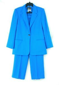 EUC Sag Harbor Women's Blue 100% Wool 2 Piece Pant Suit Size 10 Very Good Shape