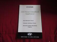2001 HYUNDAI ELANTRA ACCENT TIBURON SONATA OWNERS HANDBOOK SUPPLEMENT MANUAL