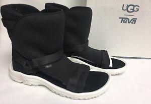 UGG / TEVA COLLAB Black SHEEPSKIN SPORTY HYBRID BOOTS SANDALS 1018220U