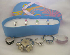 Lot 11 rings, Avon set 4 toe rings, SS paw print toe, enamel flower cluster, RS