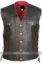 Leather Skin Gun Club Men Black Genuine Leather Vest - Red Lining & Gun Pocket