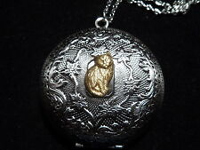 ANTIQUE SILVER KITTY CAT LOCKET  LARGE