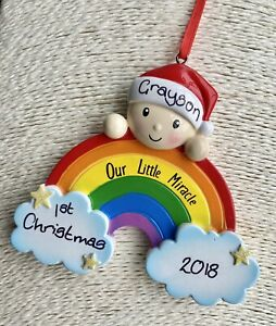 Personalised Rainbow Baby's First Christmas Tree Decoration Bauble Boy Girl 2021