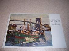 BROOKLYN BRIDGE NEW YORK CITY NY. PAINTING by ANTHONY THIEME VTG ART POSTCARD