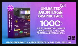 + 1000 Montage Graphic Pack / Titles / Transitions / Lower Thirds Premier & AE