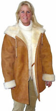 Ladies Hooded Shearling Coat, size XS