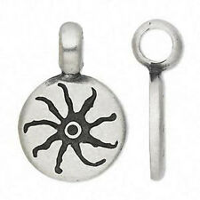 Sun Necklace Antiqued Silver Pendant Leather Cord Jewelry