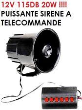 SIRENE PROMO! ELECTRONIQUE TELECOMMANDE 115DB 20W! 6 SONS POMPIER POLICE BIP BIP