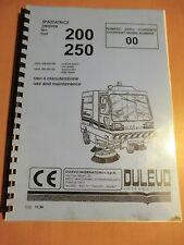 Manuale di istruzioni manutenzione DULEVO zione-saugmaschine 200 250 Sweeper da installare Manual SB SA