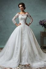 WOMENS TULLE CHAPEL TRAIN WEDDING DRESS. BRIDAL GOWN. SIZES 2-28W. HANDMADE.