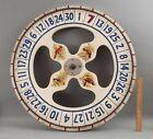 Antique Folk Art Painted Red White & Blue Wood Gambling Carnival Game Wheel NR