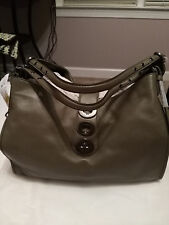 COACH 32325 LARGE SHOULDER BAG PURSE OLIVE GREEN LEATHER MADISON CARLYLE