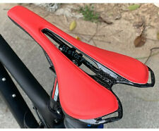 Carbon leather MTB Bike road Racing Hollow Seat Saddle Cushion Pad 270*143mm Red