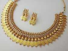 Indian Fashion Jewelry temple coin necklace set bollywood ethnic Gold plated Set