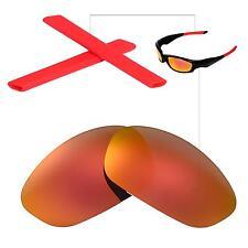 New Walleva Polarized Fire Red Lenses + Red Earsocks For Oakley Straight Jacket