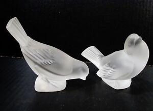 Pair LALIQUE Crystal France SPARROW Bird Paperweights MOINEAU COLEREUX & MOQUEUR