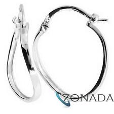 Genuine Twist 9k 9ct Solid White Gold Hoop Earrings W55013
