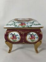 Lovely Hand-Decorated Floral Porcelain Trinket Boxes with Gold Trim