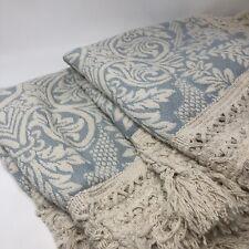 2 Vintage Blue White Damask Standard Pillow Sham Pillowcase Fringe Chenille