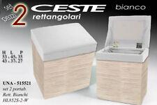 SET 2 POUF POUFF CONTENITORE H53-43 CM TESSUTO LEGNO BIANCO CHIARI UNA 515521