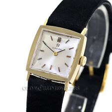 Omega Vintage Tuxedo Dress Watch Ref 6696 14K Gold Box Papers Sales Receipt