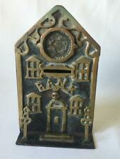 ANTIQUE 19C CAST IRON & BRASS MONEY BOX IN THE FORM OF A BANK