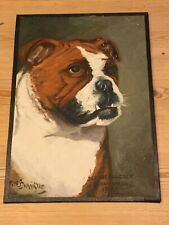 More details for rare large antique bulldog named dog oil painting 1960 signed f.w. bannister
